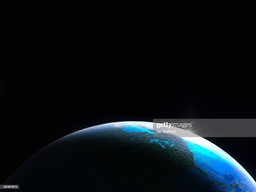 Globe shot to look like view of Earth from space. : Stock Photo