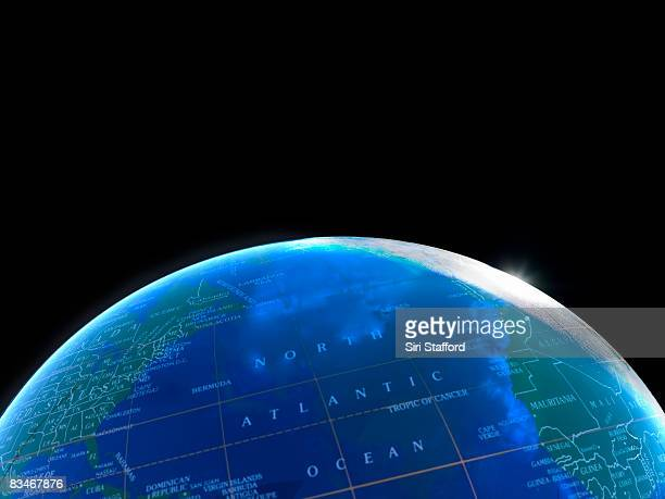 Globe shot to look like view of Earth from space