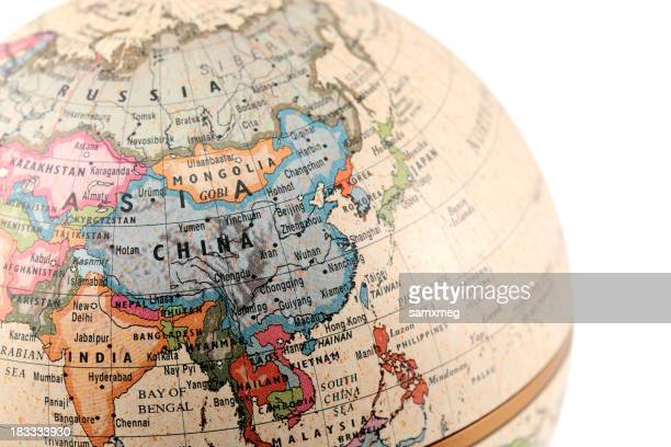 Globe showing Asia with clipping paths