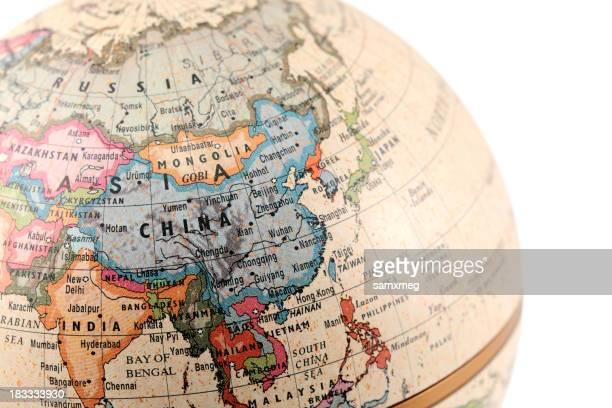 Globus zeigen Asien mit Schneidepfaden