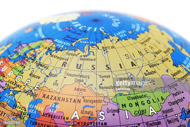 A globe showing Russia with a white background