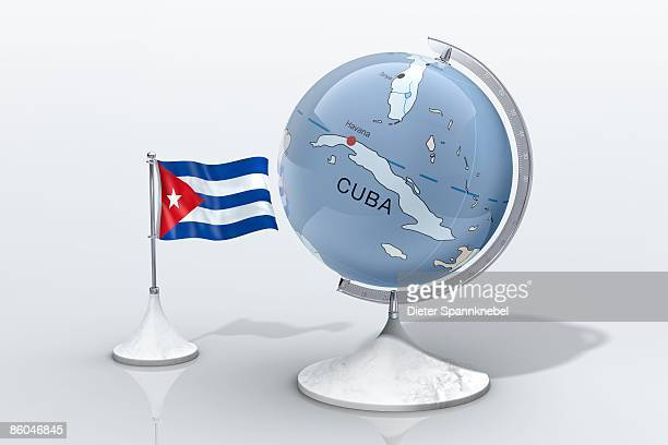 Globe shows Cuba closeup with ensign
