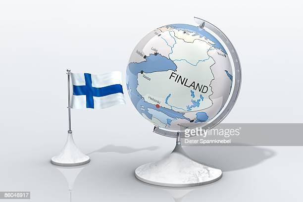 Globe shows Finland closeup with ensign