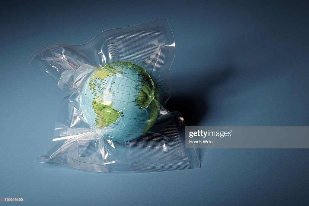 Globe shrink wrapped in plastic