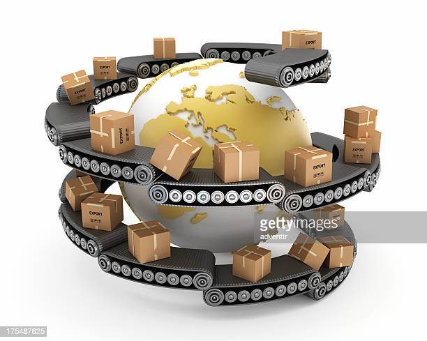 Globe surrounded with boxes on conveyor belts