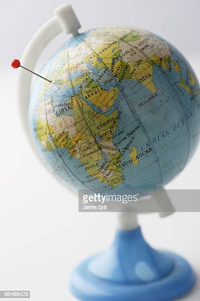 Globe with a pin