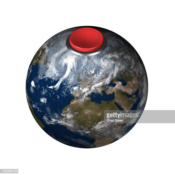 Globe with a Red Detonator Button