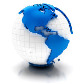 'Globe with extruded map of america, clipping path provided'