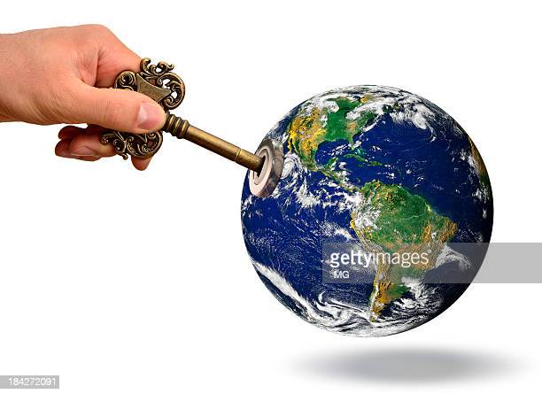 Globe with lock and skeleton key