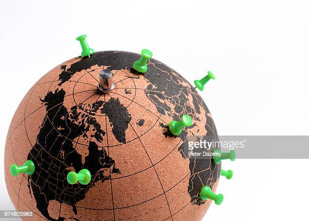 Globe with push pin destinations