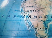 Globe with USA & Central America prominent (video still)