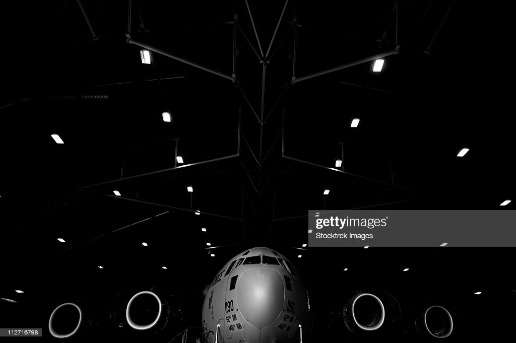 A C-17 Globemaster III sits in a hangar at McChord Field Air Force Base, Washington.