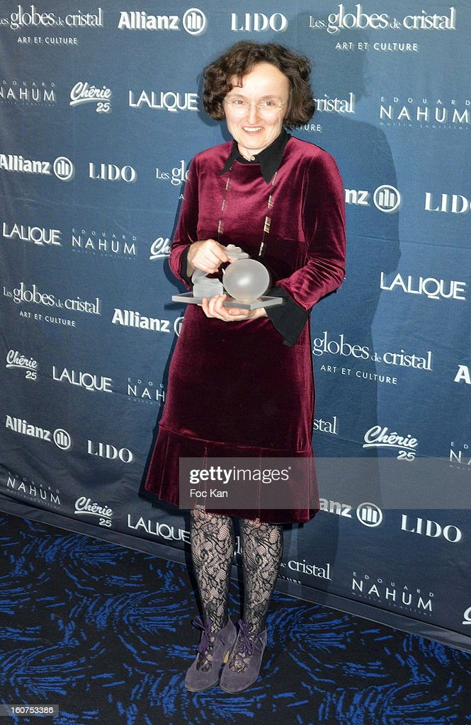 Globes de Cristal 2013 best writer awarded Marie Helene Lafon attend the 'Globes de Cristal 2013' Press Room at the Lido on February 4, 2013 in Paris, France.
