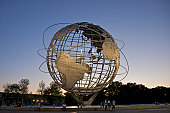 Globe-shaped sculpture with South America.