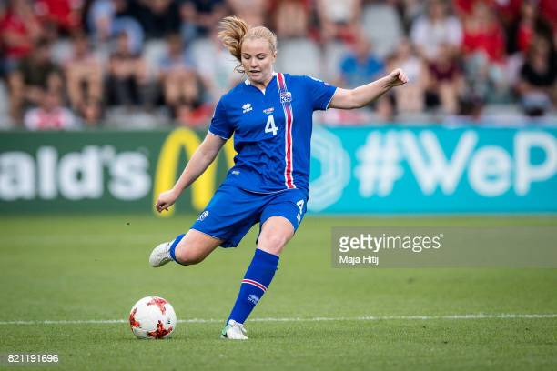 Glodis Viggosdottir of Iceland controls the ball during the UEFA Women's Euro 2017 Group C match between Iceland and Switzerland at Stadion De...