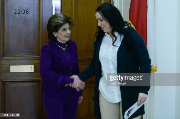 Gloria Allred delivers a letter to Congressman Mac Thornberry the Chair of the House Armed Services Committee with Marine veteran Erica Butner who...