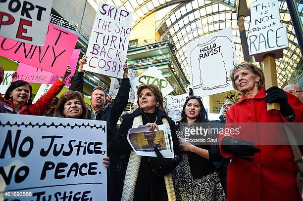 Gloria Allred gathers with protestors outside of a Bill Cosby show on January 17 2015 in Denver Colorado