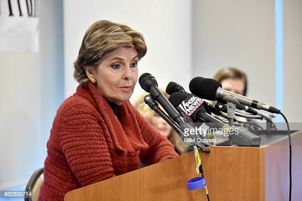 Gloria Allred speaks during the Accusers of President Donald Trump Hold Press Conference With Attorney Gloria Allred At The Women's March In...
