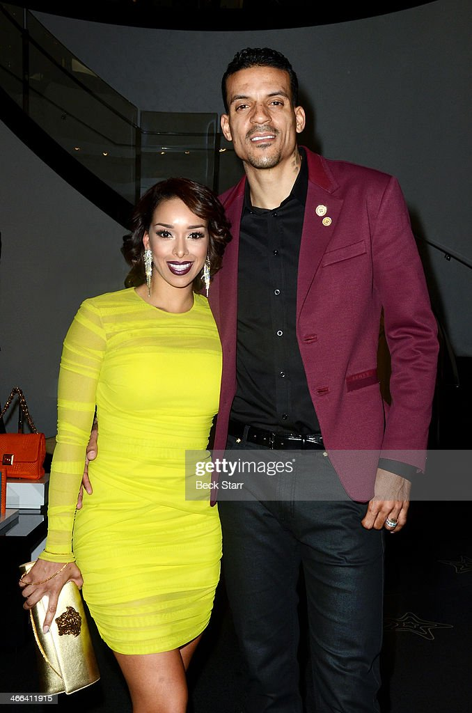 Gloria Barnes and professional basketball player <a gi-track='captionPersonalityLinkClicked' href=/galleries/search?phrase=Matt+Barnes+-+Basketball+Player&family=editorial&specificpeople=202880 ng-click='$event.stopPropagation()'>Matt Barnes</a> attend <a gi-track='captionPersonalityLinkClicked' href=/galleries/search?phrase=Matt+Barnes+-+Basketball+Player&family=editorial&specificpeople=202880 ng-click='$event.stopPropagation()'>Matt Barnes</a> Foundation Athletes Vs. Cancer event at Versace Boutique on January 31, 2014 in Beverly Hills, California.