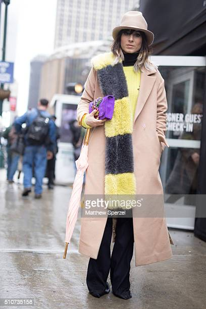 Gloria Bombarda is seen at the Vera Wang Collection show during New York Fashion Week Women's Fall/Winter 2016 on February 16 2016 in New York City