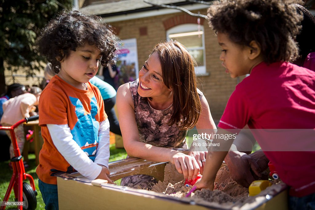 Gloria De Piero, prospective parliamentary candidate for the Labour Party in Ashfield, meets parents and children at Stockwell Gardens Nursery for the launch of the Labour Party's women's manifesto on April 15, 2015 in London, England. The Labour Party have launched their women's manifesto which includes a pledge to provide more free childcare and leave both for fathers and grandparents.