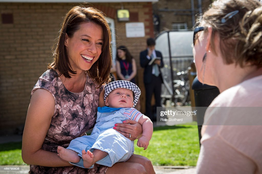Gloria De Piero, prospective parliamentary candidate for the Labour Party in Ashfield, holds Janosch, aged 5 months, whilst speaking to his mother at Stockwell Gardens Nursery during the launch of the Labour Party's women's manifesto on April 15, 2015 in London, England. The Labour Party have launched their women's manifesto which includes a pledge to provide more free childcare and leave both for fathers and grandparents.