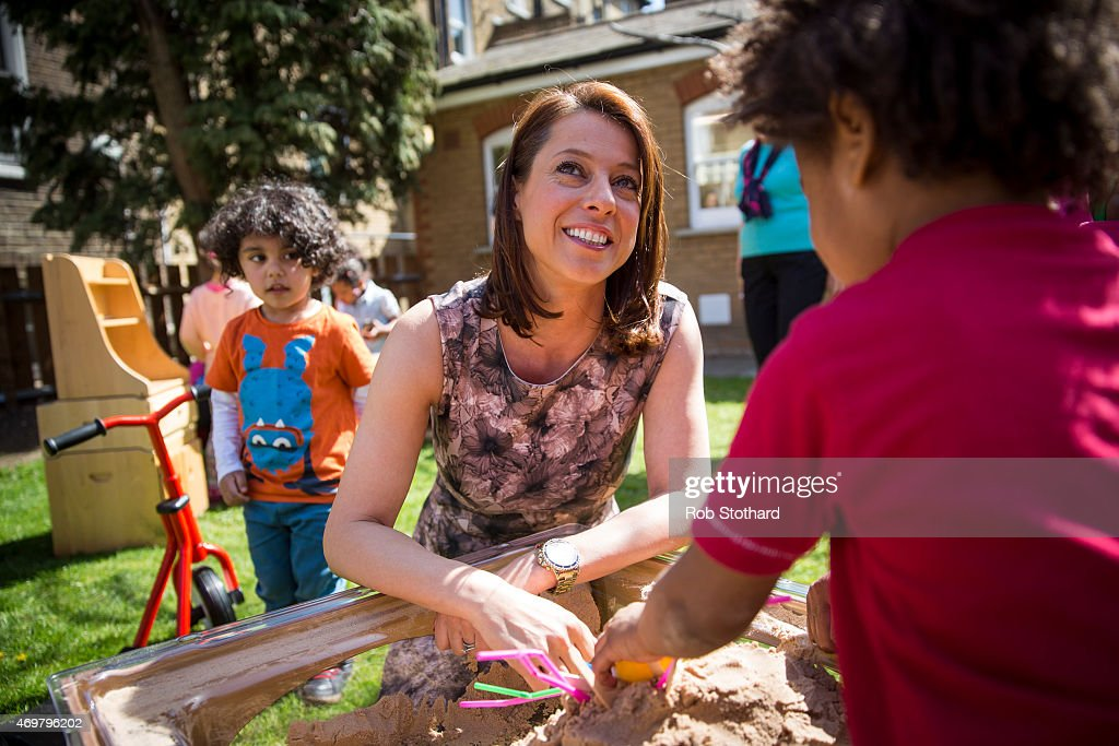 Gloria De Piero, prospective parliamentary candidate for the Labour Party in Ashfield, meets parents, children and staff at Stockwell Gardens Nursery for the launch of the Labour Party's women's manifesto on April 15, 2015 in London, England. The Labour Party have launched their women's manifesto which includes a pledge to provide more free childcare and leave both for fathers and grandparents.