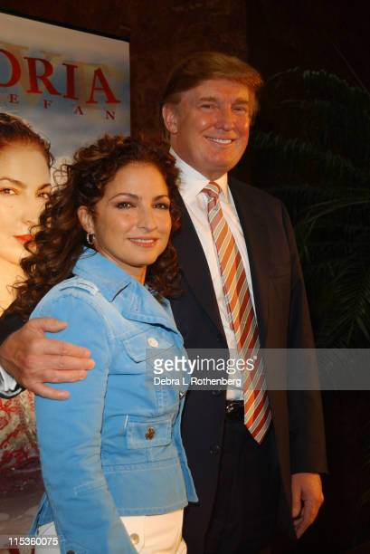 Gloria Estefan and Donald Trump during Gloria Estefan's 'Live And ReWrapped Summer 2004' Final Tour Press Conference at Trump Towers in New York City...