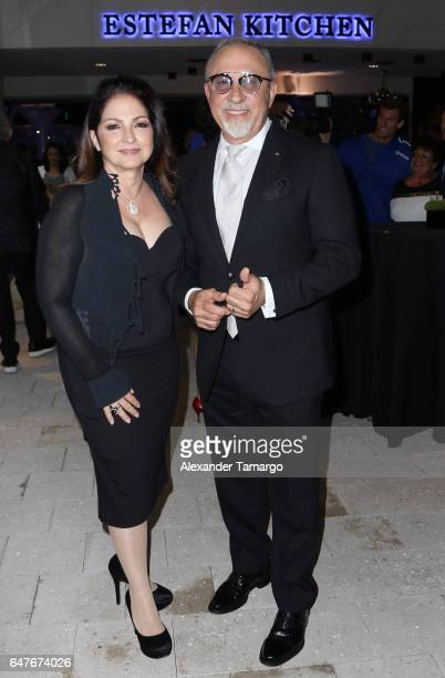 Gloria Estefan and Emilio Estefan are seen at the grand opening of the Estefan Kitchen restaurant at the Palm Court in the Design District on March 3...