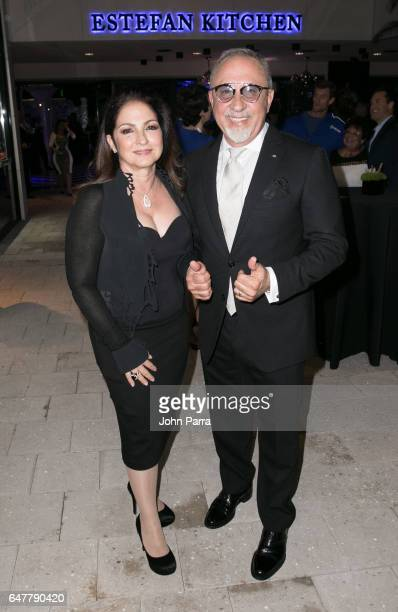 Gloria Estefan and Emilio Estefan are seen at the grand opening of the Estefan Kitchen at the Palm Court in the Design District on March 3 2017 in...