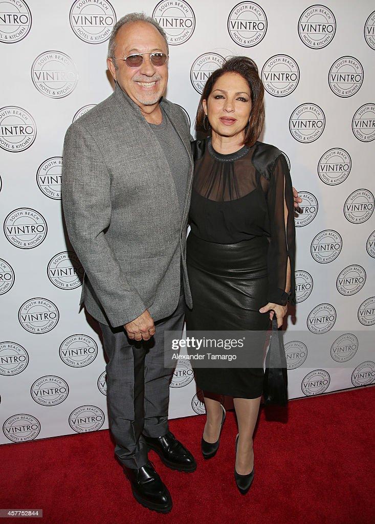 Gloria Estefan and Emilio Estefan attend Cristina Saralegui's Book Launch at Vintro Hotel on October 23, 2014 in Miami, Florida.