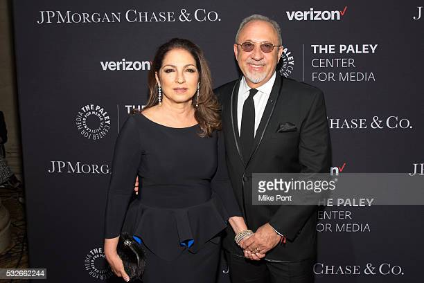 Gloria Estefan and Emilio Estefan attend the 2016 Paley Center for Media's Tribute To Hispanic Achievements In Television at Cipriani Wall Street on...