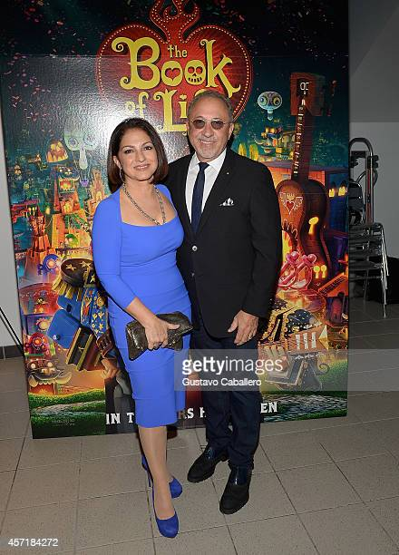 Gloria Estefan and Emilio Estefan attend 'THE BOOK OF LIFE' Red Carpet at Regal South Beach 18 on October 13 2014 in Miami Florida
