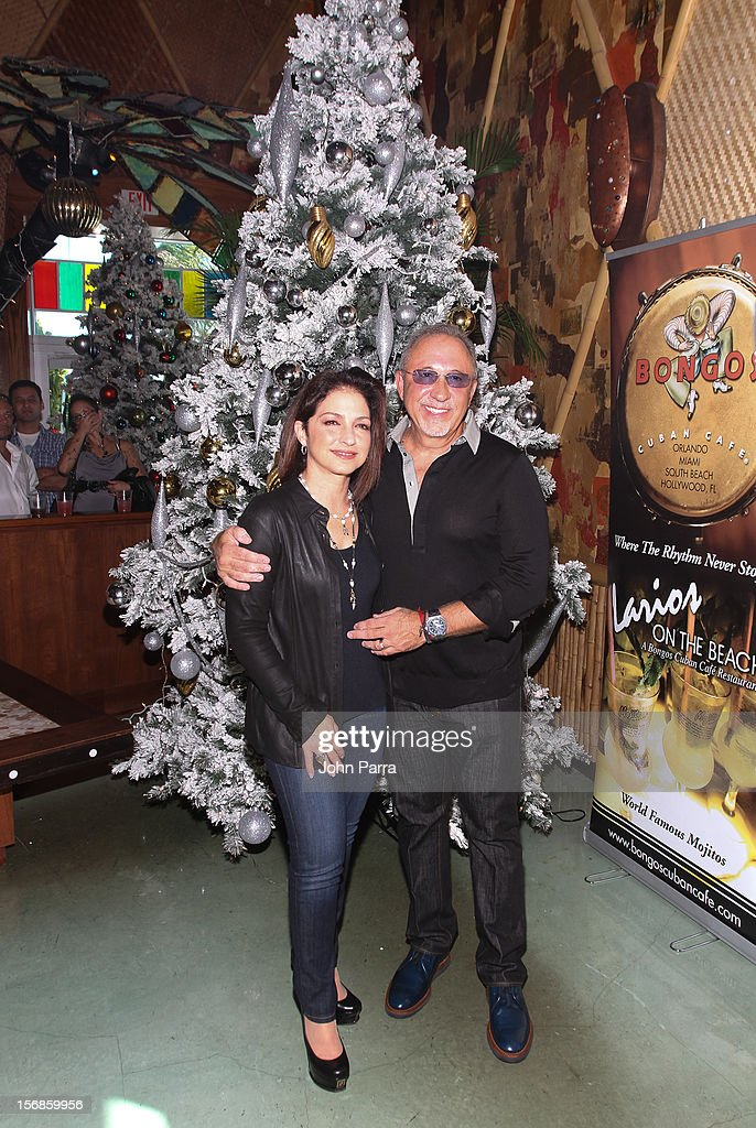 <a gi-track='captionPersonalityLinkClicked' href=/galleries/search?phrase=Gloria+Estefan&family=editorial&specificpeople=201703 ng-click='$event.stopPropagation()'>Gloria Estefan</a> and <a gi-track='captionPersonalityLinkClicked' href=/galleries/search?phrase=Emilio+Estefan&family=editorial&specificpeople=210517 ng-click='$event.stopPropagation()'>Emilio Estefan</a> participate in 5th Annual Thanksgiving Feed A Friend at Bongos on November 22, 2012 in Miami, Florida.