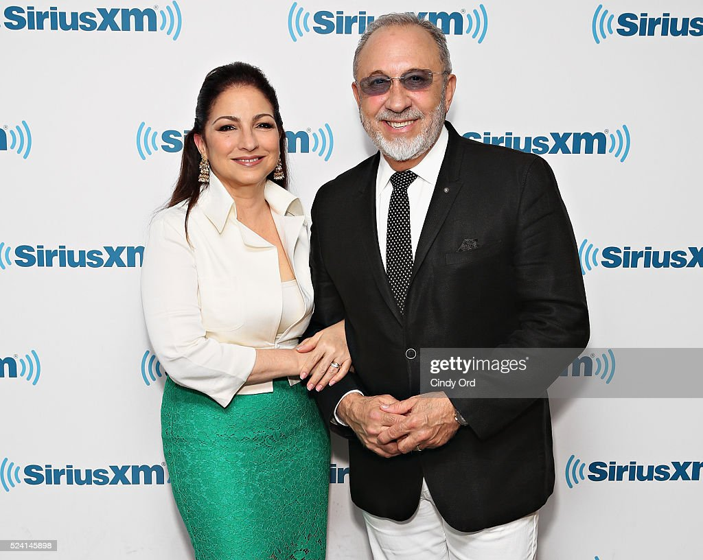 Gloria Estefan and Emilio Estefan visit the SiriusXM Studio on April 25, 2016 in New York City.