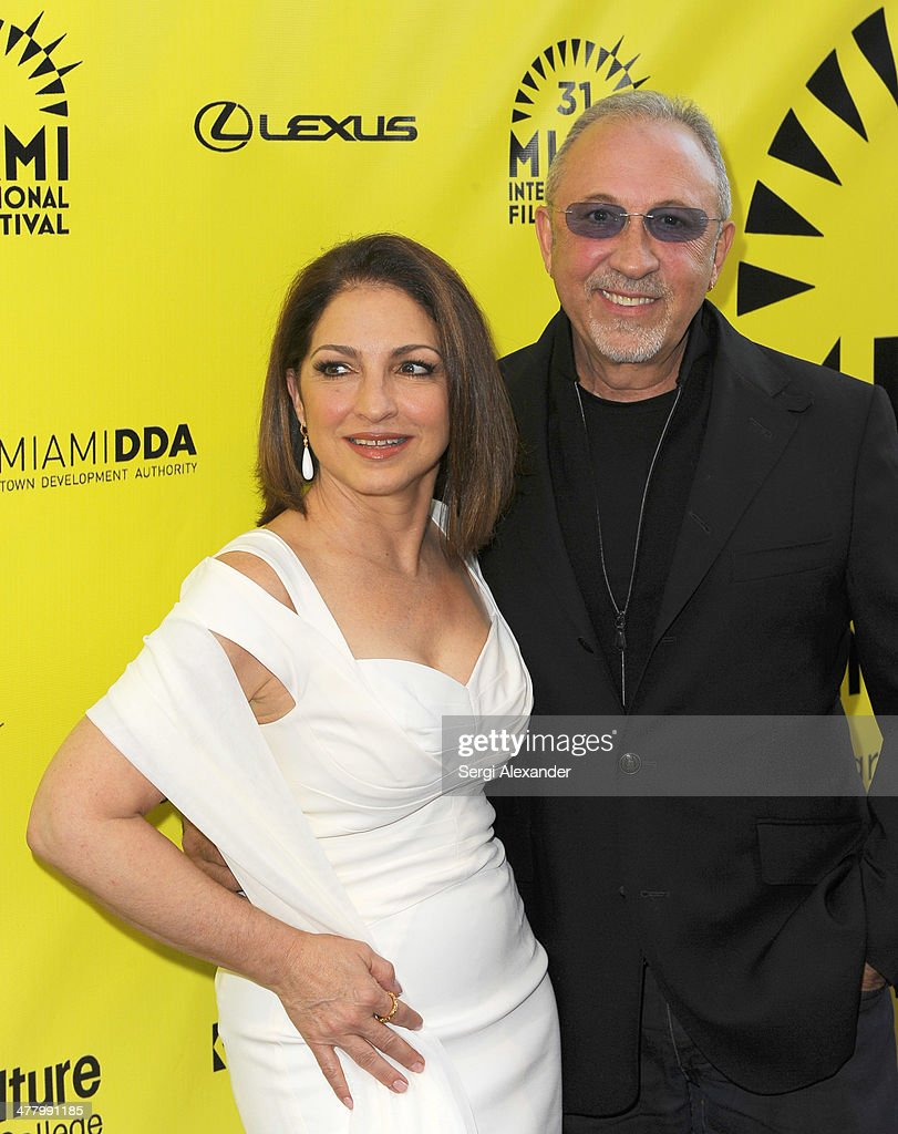 Gloria Estefan and Emillio Estefan attend the 'An Unbreakable Bond' premiere during the Miami International Film Festival 2014 at Gusman Center for...