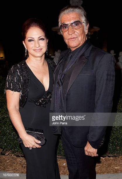 Gloria Estefan and Roberto Cavalli arrive at the Roberto Cavalli's 2011 Spring collection fashion show to benefit the Gloria Estefan Foundation and...