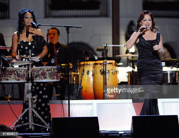 Gloria Estefan and Sheila E perform at the White House music series 'Fiesta Latina' on the South Lawn of the White House October 13 2009 in...
