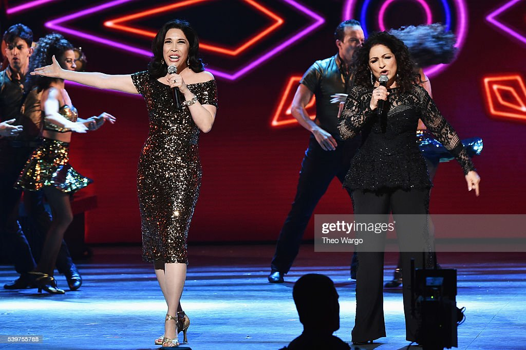 Gloria Estefan and the cast of 'On Your Feet' perform onstage during the 70th Annual Tony Awards at The Beacon Theatre on June 12 2016 in New York...