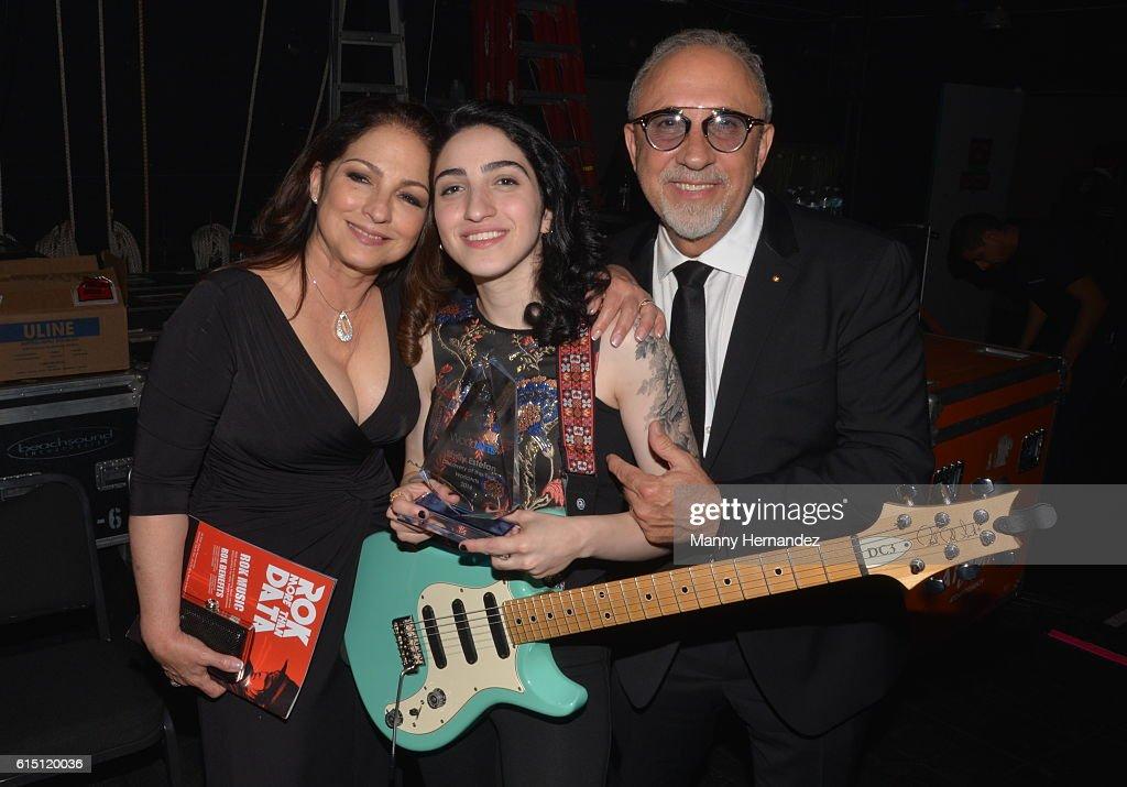 Gloria Estefan, Emily Estefan and Emilio Estefan at Latin Songwriters Hall Of Fame La Musa Awards, Miami Beach, FL on October 13, 2016