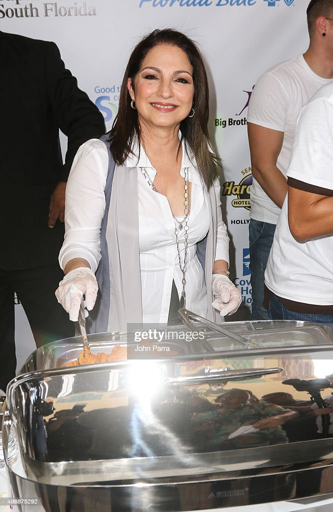 Gloria Estefan hosts the 8th Annual Thanksgiving Feed A Friend at Bongos Cuban Cafe At Seminole Hard Rock Hotel And Casino on November 26 2015 in...