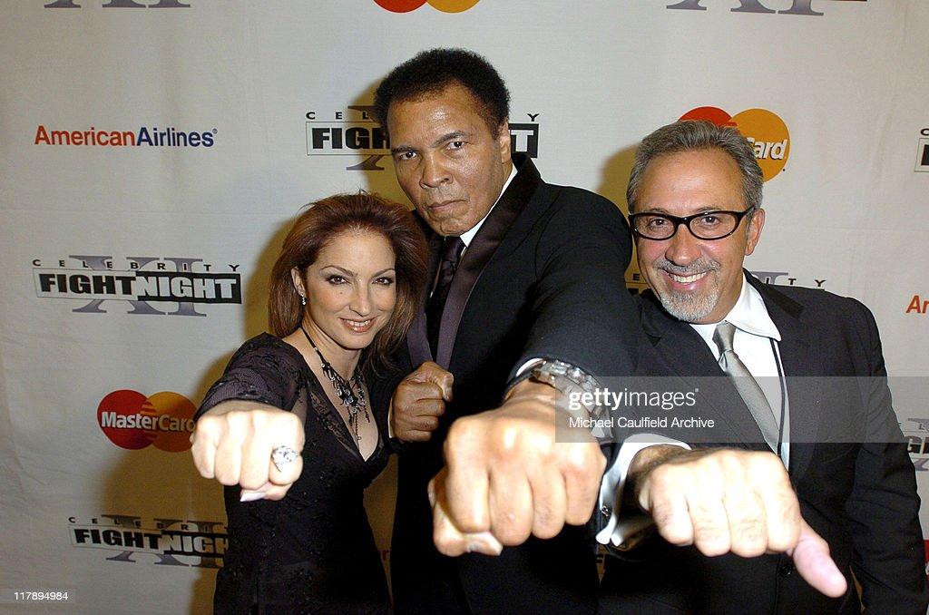 Gloria Estefan, Muhammad Ali and Emilio Estefan during Celebrity Fight Night XI at Arizona Biltmore Resort in Phoenix, Arizona, United States.