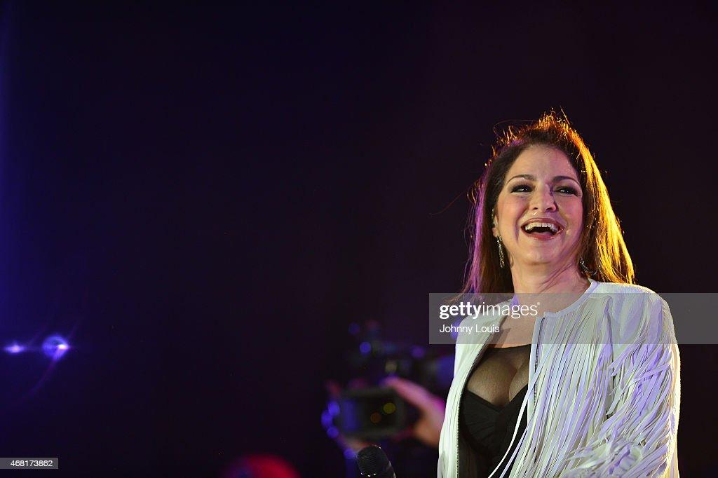 Gloria Estefan onstage performs during the Miami Beach 100 Centennial Concert on March 26 2015 in Miami Beach Florida