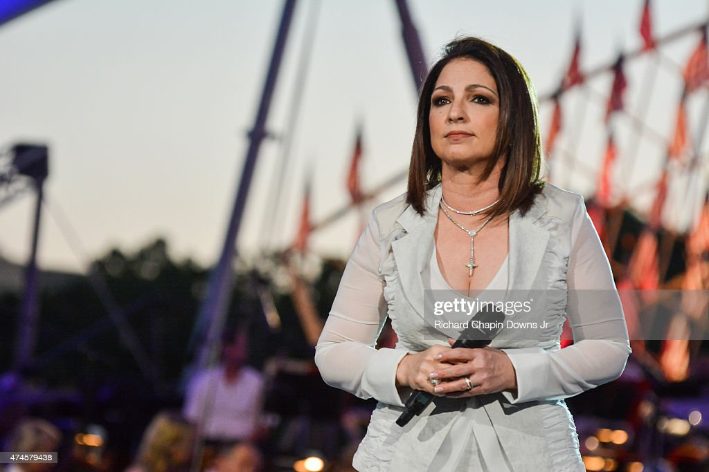 Gloria Estefan performs during 26th Anniversary Broadcast of the National Memorial Day Concert rehearsals at US Capital West Lawn on May 23 2015 in...