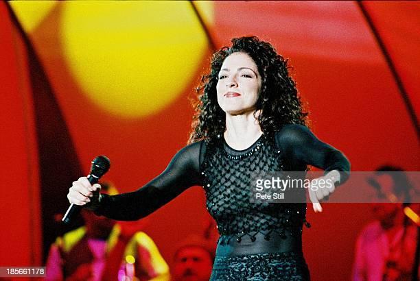 Gloria Estefan performs on stage at the Birmingham NEC on December 1st 1996 in Birmingham England