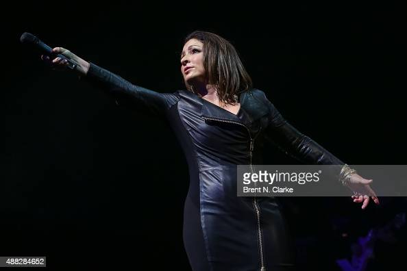 Gloria Estefan performs on stage during 'Gloria Estafan and the Miami Sound Machine A Benefit Concert for Viva Broadway' held at the Minskoff Theatre...
