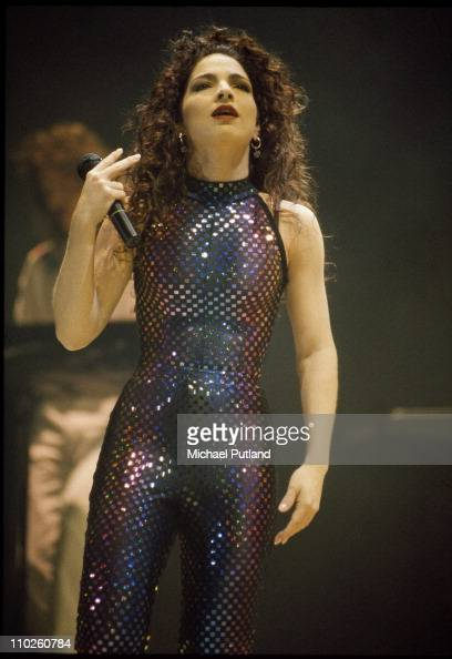 Gloria Estefan performs on stage Wembley Arena London 1991