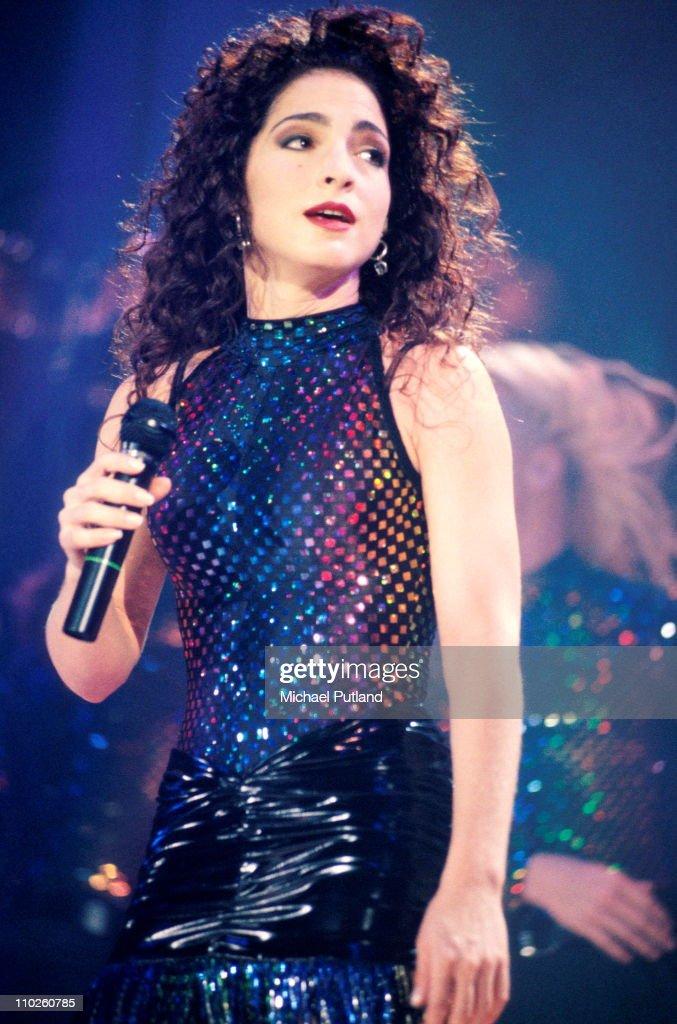 Gloria Estefan performs on stage Wembley Arena London 1991