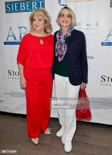 Gloria Gebbia and Sharon Stone attend The Associates for Breast and Prostate Cancer Studies annual Mother's Day Luncheon at Four Seasons Hotel Los...