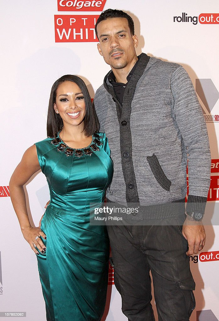 Gloria Govan and NBA player Matt Barnes attend Rolling Out Mirror Mirror Awards at Rolling Stone Restaurant & Lounge on December 6, 2012 in Los Angeles, California.
